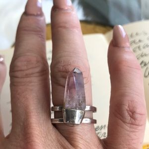 Amethyst crystal sterling silver statement ring 7